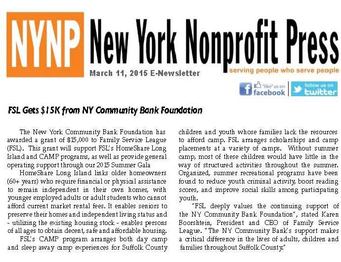 FSL Gets $15K from NY Community Bank Foundation 031115