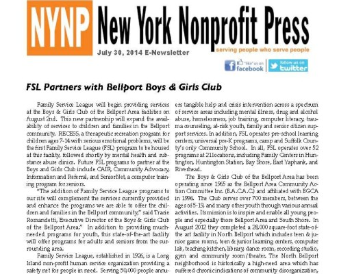 FSL Partners with Bellport Boys  Girls Club