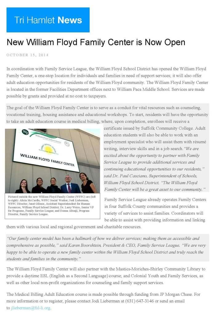 New William Floyd Family Center is Now Open